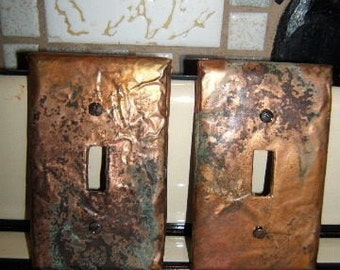 Edited Pair of Aged Distressed Copper Light Plates