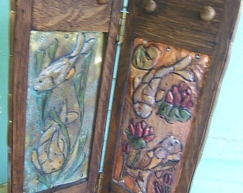Repurposed Japanese Screen with Koi and Flowers