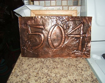 Dragonfly Copper House Number Plaque