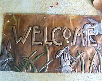 Rabbit Welcome Plaque