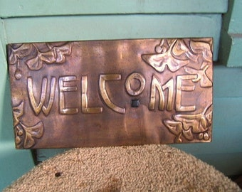 Brass Ginkgo Welcome Sign