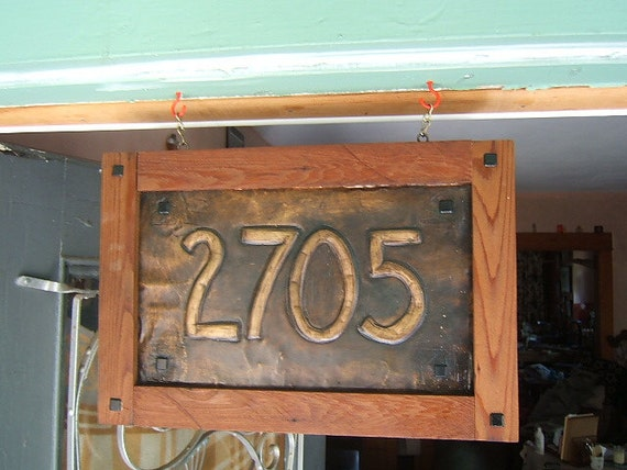 Craftsman hanging house sign redwood frame for House number frames