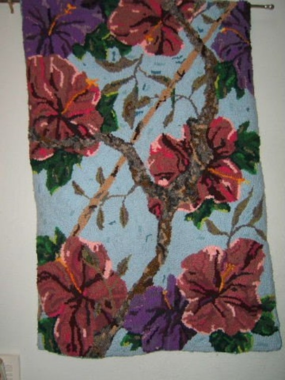 Hibiscus Hooked Rug Wall Hanging