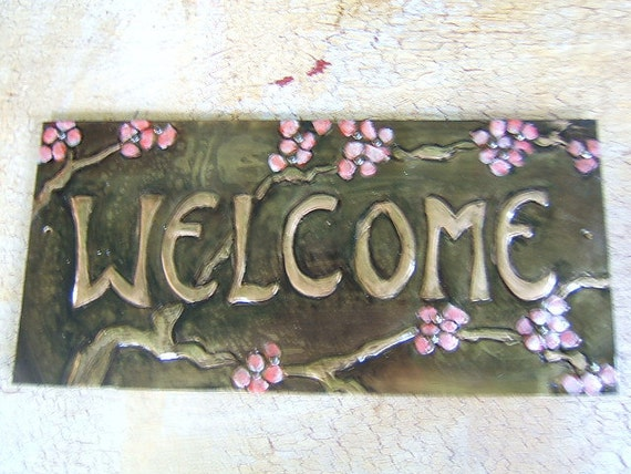 Cherry Blossum Welcome Plaque