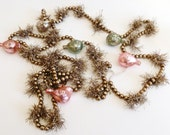 Cottage Chic Mercury Glass Pink Teal Silver Tinsel Birds and  Beads Easter Christmas Tree Garland