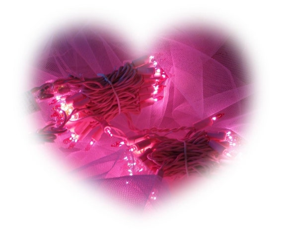 70 Shabby Cottage Pink Christmas Tree Lights Pink Wire