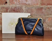 RESERVED for aselfportrait Blue Leather Clutch with Orange Trim