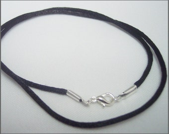 Pendant Cord Necklace Black Satin -You choose Length- silver tone Lobster Clasp jewelry