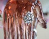 Vintage Ring, Rhinestone Ring, Handmade Ring, Adjustable Ring, Silver Ring,