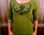 Scottish Thistle Green Tshirt Women's 3/4 Sleeve Boatneck Scotland Jersey Cotton Sm M Only