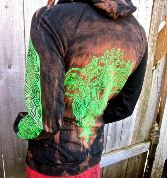 SALE Unisex Double Sided Celtic Black Green Bleached Hoodie Small Only