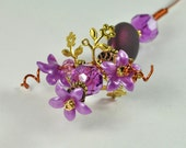 Handmade Purple Floral Mini Plant Stake - MS113