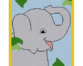 INSTANT DOWNLOAD Chella Crochet Large Baby Elephant on Safari / Jungle Afghan Crochet Pattern Graph Chart .PDF