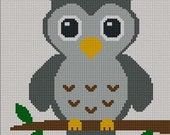 INSTANT DOWNLOAD Easy Too Cute Gray Baby Owl Crochet Knit Cross Stitch Afghan Pattern Graph