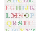 INSTANT DOWNLOAD Chella Crochet Pastel Alphabet ABC use to personalize too Afghan Crochet Pattern Graph Chart .pdf