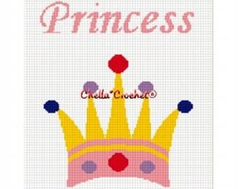 INSTANT DOWNLOAD Chella Crochet Princess Crown Afghan Crochet Pattern Graph