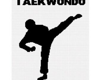 INSTANT DOWNLOAD Chella Crochet Taekwondo Silhouette Afghan Crochet Pattern Graph Emailed .PDF