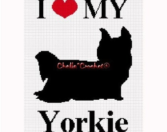 INSTANT DOWNLOAD Chella Crochet Pattern I Love My Yorkie Silhouette Dog  Afghan Pattern Graph Chart. .PDF