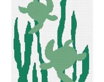 INSTANT DOWNLOAD Chella Crochet Sea Turtles Seaweed Silhouette Ocean Afghan Crochet Pattern Graph Chart .PDF