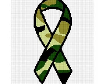 INSTANT DOWNLOAD Chella Crochet Camouflage Support Our Troops Ribbon Afghan Crochet Pattern Graph