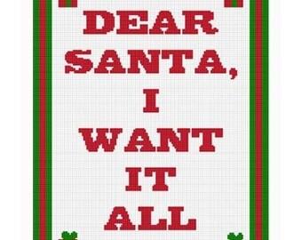 INSTANT DOWNLOAD Chella Crochet Dear Santa Christmas I Want It All Afghan Crochet Pattern Graph
