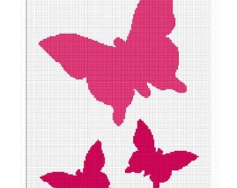 INSTANT DOWNLOAD Chella Crochet Butterfly Trio Silhouette Afghan Crochet Pattern Graph Chart .PDF
