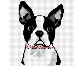 INSTANT DOWNLOAD Chella Crochet Pattern Boston Terrier Dog  Afghan Pattern Graph Chart. .PDF