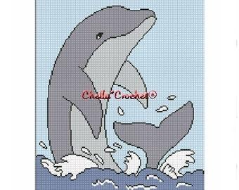INSTANT DOWNLOAD cross stitch  Chella Crochet Playful Dolphin Afghan Crochet Pattern Graph Chart .PDF