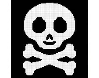 INSTANT DOWNLOAD Chella Crochet Baby Skull and Crossbones Afghan Crochet Pattern Graph 100st .pdf
