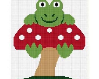 INSTANT DOWNLOAD Chella Crochet Baby Frog On Mushroom Hang On Afghan Crochet Pattern Graph 100st .pdf