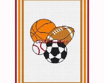 INSTANT DOWNLOAD Chella Crochet Sports Balls Football Soccer Basketball Baseball Afghan Crochet Pattern Graph Chart .PDF