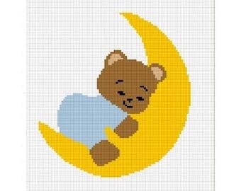 INSTANT DOWNLOAD Chella Crochet Baby Teddy Bear Sleeping On Moon Blue Afghan Crochet Pattern Graph 100st .pdf