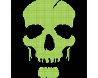 Chella Crochet Halloween Skull GREEN Afghan Crochet Pattern Graph .pdf