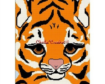 INSTANT DOWNLOAD Chella Crochet Baby Bengal Tiger Face Afghan Crochet Pattern Graph Chart .PDF