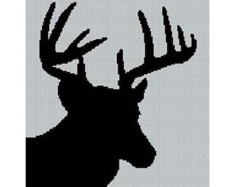 INSTANT DOWNLOAD Chella Crochet Deer Head Silhouette No. 2 Buck Stag Afghan Crochet Pattern Graph Chart .PDF
