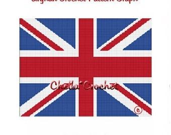 INSTANT DOWNLOAD Chella Crochet British Union Jack Flag Afghan Crochet Pattern Graph Chart .PDF