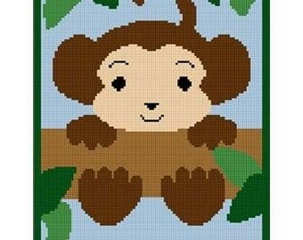 INSTANT DOWNLOAD Chella Crochet .PDF Baby Monkey  In Tree Afghan Crochet Pattern Graph 100st