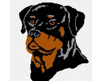 INSTANT DOWNLOAD Chella Crochet Rottie Rottweiler Dog Afghan Crochet Pattern Graph emailed .PDF