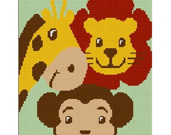 INSTANT DOWNLOAD Chella Crochet  Baby ZOO Jungle Safari Animals Afghan Crochet Pattern Graph