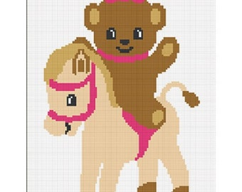 INSTANT DOWNLOAD Chella Crochet Teddy Bear Pony Horse Girl Afghan Crochet Pattern Graph 100 st .PDF