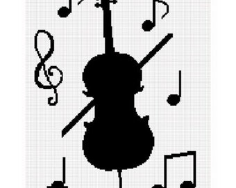 INSTANT DOWNLOAD Chella Crochet Cello Music Musical Notes Silhouette Afghan Crochet Pattern Graph Chart .PDF