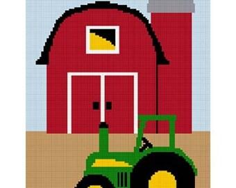 INSTANT DOWNLOAD Chella Crochet Tractor Barn Farm Scene Afghan Crochet Pattern Graph