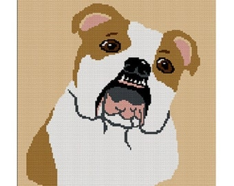 INSTANT DOWNLOAD Chella Crochet English Bull Dog BullDog Afghan Crochet Pattern Graph