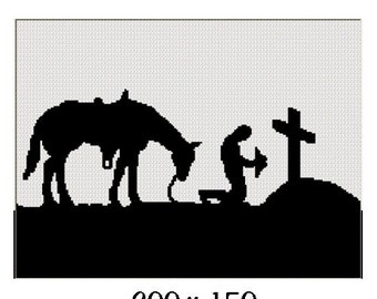 INSTANT DOWNLOAD Chella Crochet Cowboy Praying at Cross with Horse Silhouette Afghan Crochet Pattern