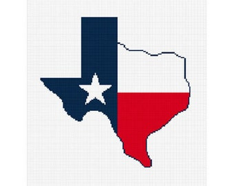 INSTANT DOWNLOAD Texas Shaped Flag Star Afghan Crochet Pattern Graph