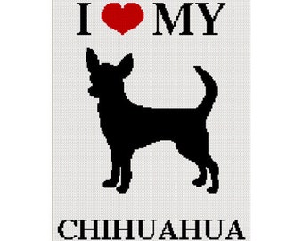 INSTANT DOWNLOAD Chella Crochet I Love My Chihuahua Silhouette Afghan Crochet Pattern Graph Chart .PDF