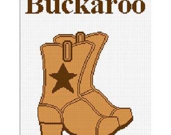 INSTANT DOWNLOAD Chella Crochet Cowboy Boots Buckaroo Star Afghan Crochet Pattern Graph