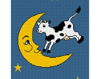 INSTANT DOWNLOADChella Crochet The Cow Jumped Over the Moon Afghan Crochet Pattern 150 st