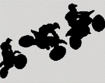 INSTANT DOWNLOAD Motocross Racers Bikes Stunts Afghan Crochet Knit Cross Stitch Pattern Graph