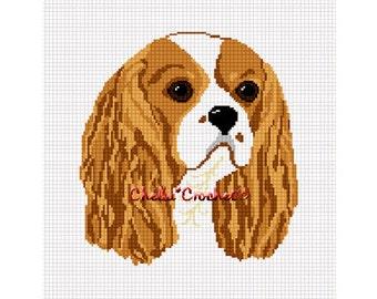 INSTANT DOWNLOAD Chella Crochet Cavalier King Charles Cocker Spaniel Dog Afghan Crochet Pattern Graph Chart .PDF
